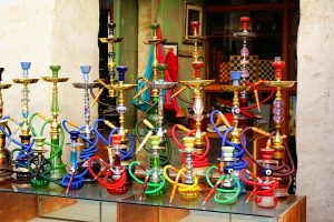 A pohoto of colorful hookahs at a hookah bar