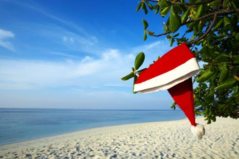 Image of santa hat on fort lauderdale beach.