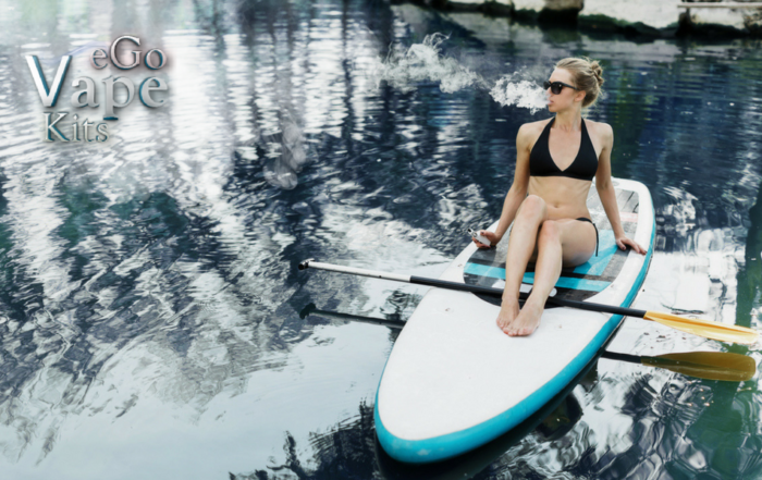 Image of girl on a lake smoking ego vape pen